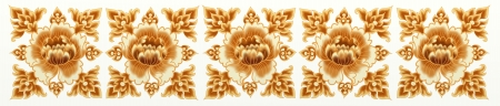 Golden Flower of Damask and Stripe Seamless Style photo