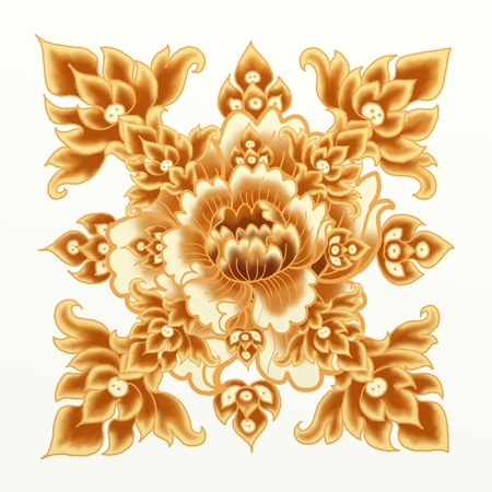 Golden Flower of The Damask Seamless Pattern photo