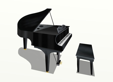 piano player: Hand Drawing of Grand Piano on a White Background