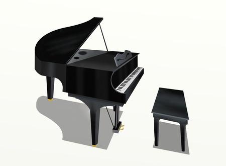 grand piano: Handzeichnung von Grand Piano auf wei�em Hintergrund