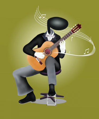 guy playing guitar: Guitar Man playing a Classical guitar with Musical Notes and Sound Waves
