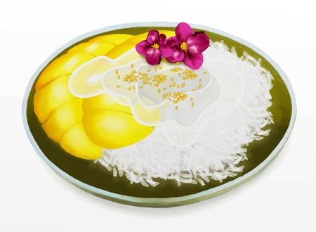 Thai Dessert, Mango with Coconut Sticky Rice is an Easy and Exotic Thai dessert  photo