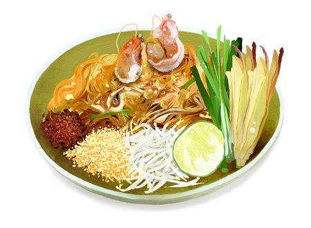 thai herb: Pad Thai is a Dish of Stir Fried Rice Noodles with Eggs, Shrimps and Peanuts is a Famous Thai Cuisine Stock Photo