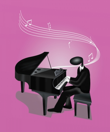 Pianist Man Playing Grand Piano with Musical Notes and Sound Waves photo