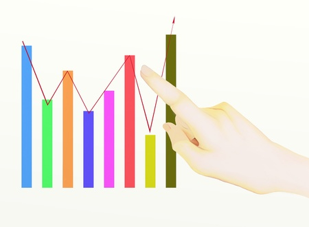 A Hand Pointing to Upward Graph, Showing The Results of successful photo