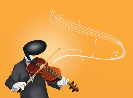 Violinist Man playing Violin with Musical Notes and Sound Waves photo