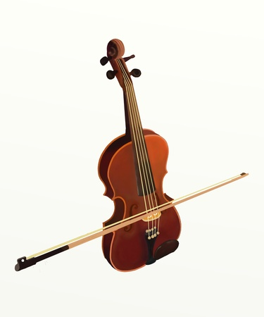Hand Drawing of Violin on a White Background photo