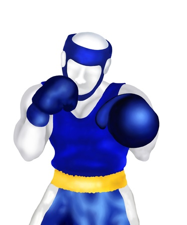 combative sport: Boxing   Male boxers Standing in Ring Ready for Fighting on White Background