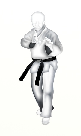tae: Judo   Young Man Martial Artist in Defense Position on White Background