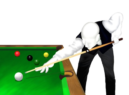 pool cue: Snooker   Young Professional Snooker Player Potting Balls on A Green