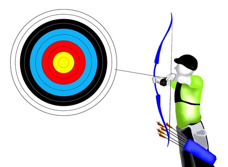 Archery    Professional Archer Shooting an Arrow at A target in Archery Competition Stock Photo