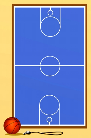 Background of Blue Basketball Court with Ball and Whistle  photo