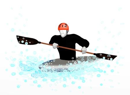 Cano�-kayak cano�-kayak Sportsman � travers une vague, sur fond blanc Banque d'images