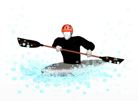Canoeing   Sportsman Canoeing Through A Wave, On White Background Stock Photo