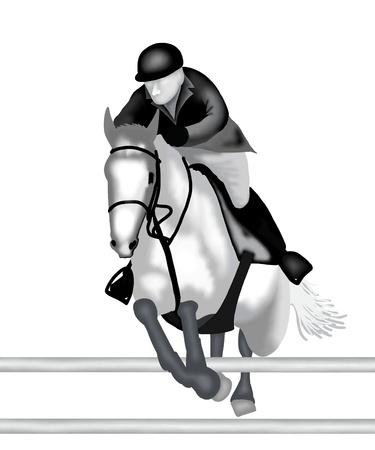 springpaard: Een professionele Ruiter Springen met paard over Oxer Tijdens Show Jumping Competition Stockfoto