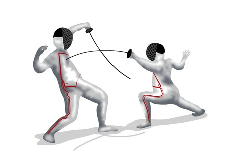 knock out: Fencing   Two Professional Fencer Fight at A Fencing Competition, On Isolated White Background Stock Photo