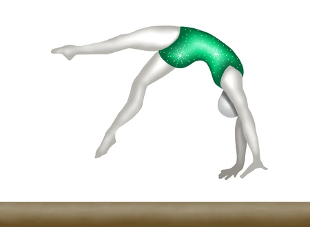 Professional Gymnast Moving and Jumping on Gymnastics Balance Beam, in Gymnastics Competition  photo