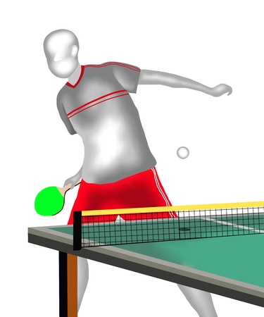 Table Tennis    Font view of Professional Table Tennis Player Hitting A Ball at forhand Drive Stock Photo