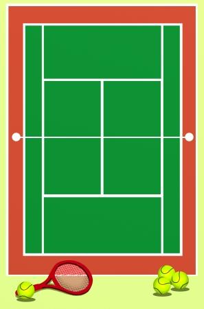 Antecedentes de Campo Tenis verde con la raqueta y pelotas photo