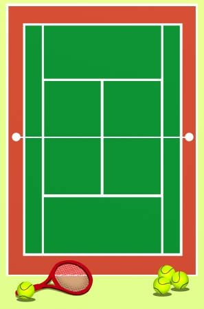 Background of Green Tennis Field with Racket and Balls photo