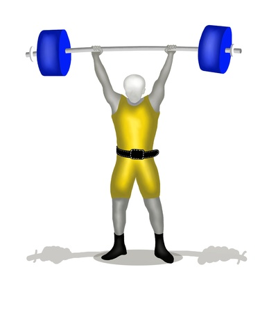 crouching: Sportman Weightlifting in Clean and Jerk Position