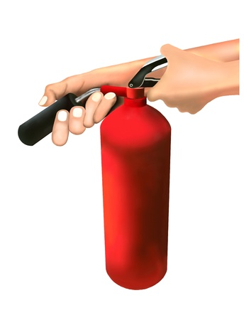 A Man Putting out Fire with Fire Extinguishers Isolated on White Background Archivio Fotografico