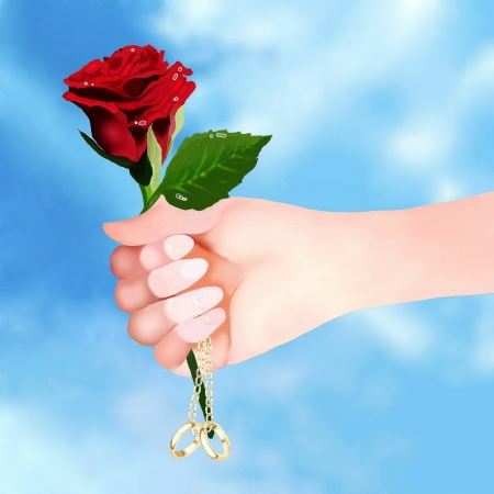 Man Holding A Beautiful Red Rose and Engagement Ring for Marriage Proposal, on Blue Sky Background  Stock Photo