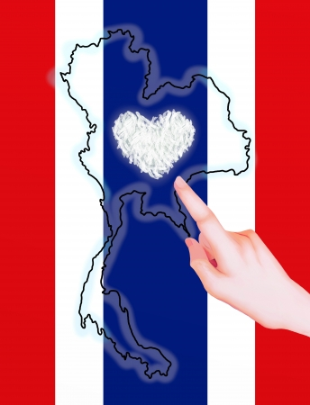 harvesting rice: A Hand Pointing to Thailand s Map and Thailand s Flag, Showing Jasmine Rice is A Heart of Thai Farmer
