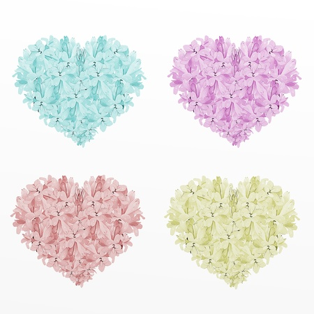 Four Colors of Heart Shape Tuberose Flowers,on A White Background  Blue, Pink, Red and Light Green   photo