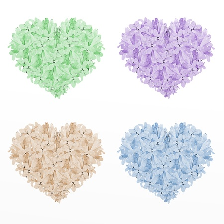 Four Colors of Heart Shape Tuberose Flowers,on A White Background  Green, Violet, Brown and Blue Colors Stock Photo - 14730578