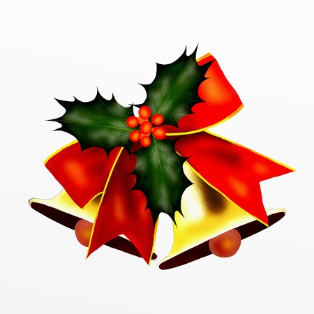Two Golden Bells and Red Bow with Christmas Holly photo