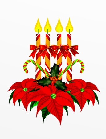 advent candles: Christmas Decoration on White Background Stock Photo