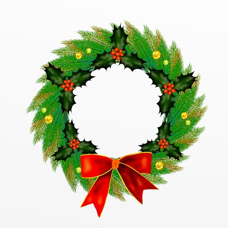 Christmas Wreath with Bow, Holly Leaves and Berries and  Ornament photo