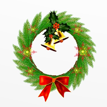 advent wreath: Cristmas Wreath of Pine Leaves with Christmas Decoration
