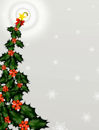 Christmas Tree with Golden Star and Candy Cane on Snowflake Background Stock Photo - 14792301