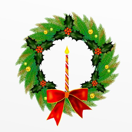 advent wreath: Christmas Wreath with Bow, Holly Leaves and Berries and  Ornament