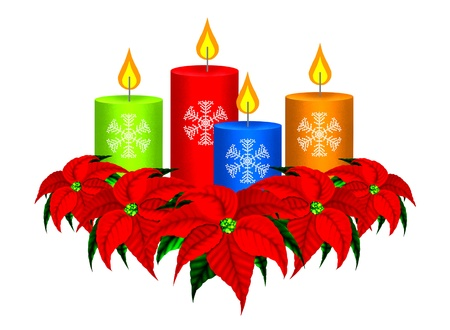 advent candles: Christmas Candles and Poinsettia Christmas Flowers Stock Photo