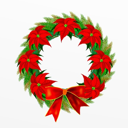Christmas Wreath with Bow and Poinsettia Flowers