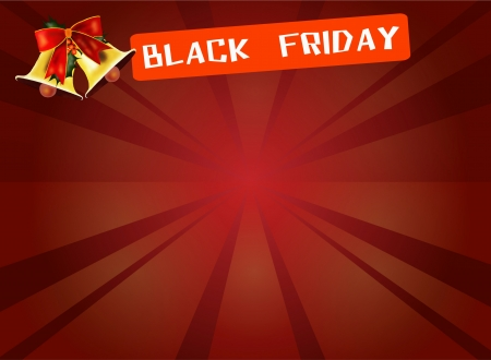Black Friday Banner and Bell on Red Starburst Background, Sign for Start Christmas Shopping Season  photo