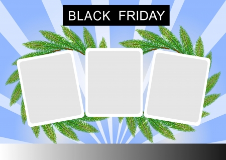 Black Friday Banner with Three Square Sticker on Pine Leaves Wreath, on White and Blue Starburst Background Stock Photo - 14898856