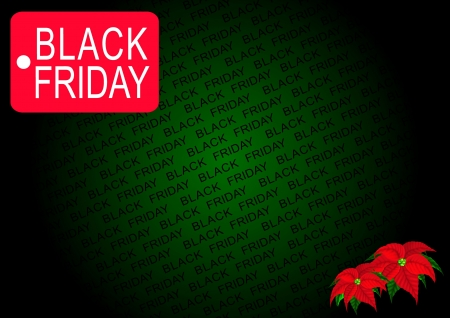 The Red Black Friday Banner and Poinsettia Flowers on Green Background, Sign for Start Christmas Shopping Season