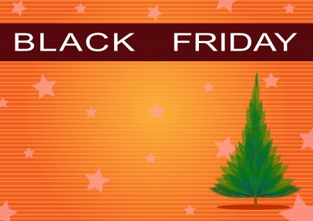 Black Friday Banner and Christmas Tree on Orange Star Background, Sign for Start Christmas Shopping Season  photo