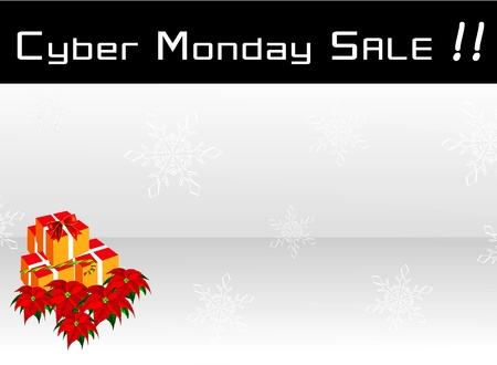 Banni�re Soldes Cyber ??Monday avec bo�te-cadeau et fleurs de poinsettia sur fond flocons de neige d'argent, signe pour la saison D�but achats de No�l
