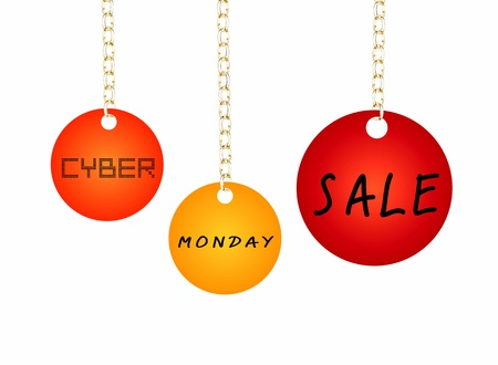doom: Cyber Monday Sale Tag Holding on A Goldenl Chain, Isolated on White Back Ground, , Sign for Start Christmas Shopping Season