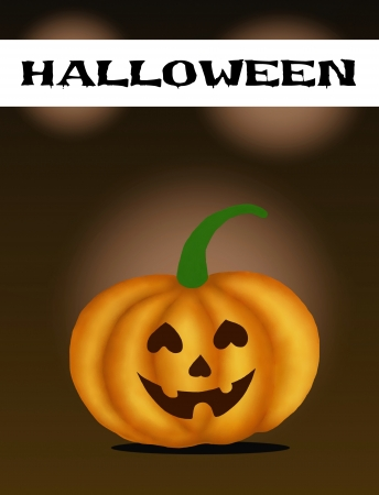 Halloween Banner and Jack-o-Lantern Pumpkins In Front Of A Dark Shadow Background   photo