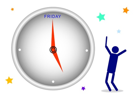 week end: Cartoon of A Happy Businessman Watching A Clock and Waiting Time for Finish Working Friday   Stock Photo