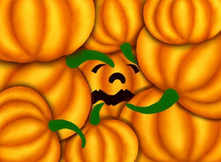 Jack-o-Lantern Pumpkins So Sad Under Other Various Pumkins, He I Want to Go to Halloween Celebration   Stock Photo - 14898863