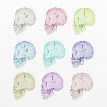 Hand Drawing Side View of Human Skull with Various Colors, Isolated on White Background photo