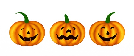Three Happy Jack-o-Lantern Pumpkins with Different Faces, Isolated on White Background, For Halloween Celebration Stock Photo - 14898860