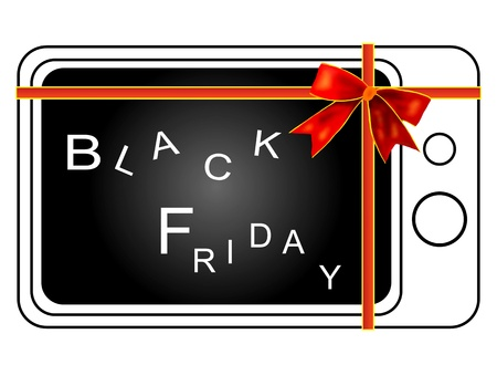 Retro Television Tied with A  Red Ribbon Isolated on white background, Sign for Start Black Friday Shopping Season Stock Photo - 14898853